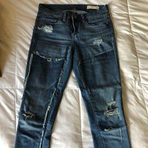 Blank NYC patchwork skinny jeans, size 26. EEUC